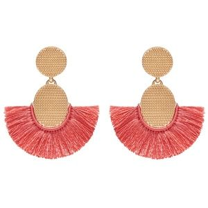 NEW India Hicks Golden Fan Earrings, Coral